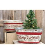 Country MERRY CHRISTMAS WASH TUBS CAN Rustic Farmhouse Primitive 2 PC Bu... - £53.62 GBP