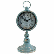 "Antiqued Metal Pedestal Clock 13"" - 35124 - $46.52"