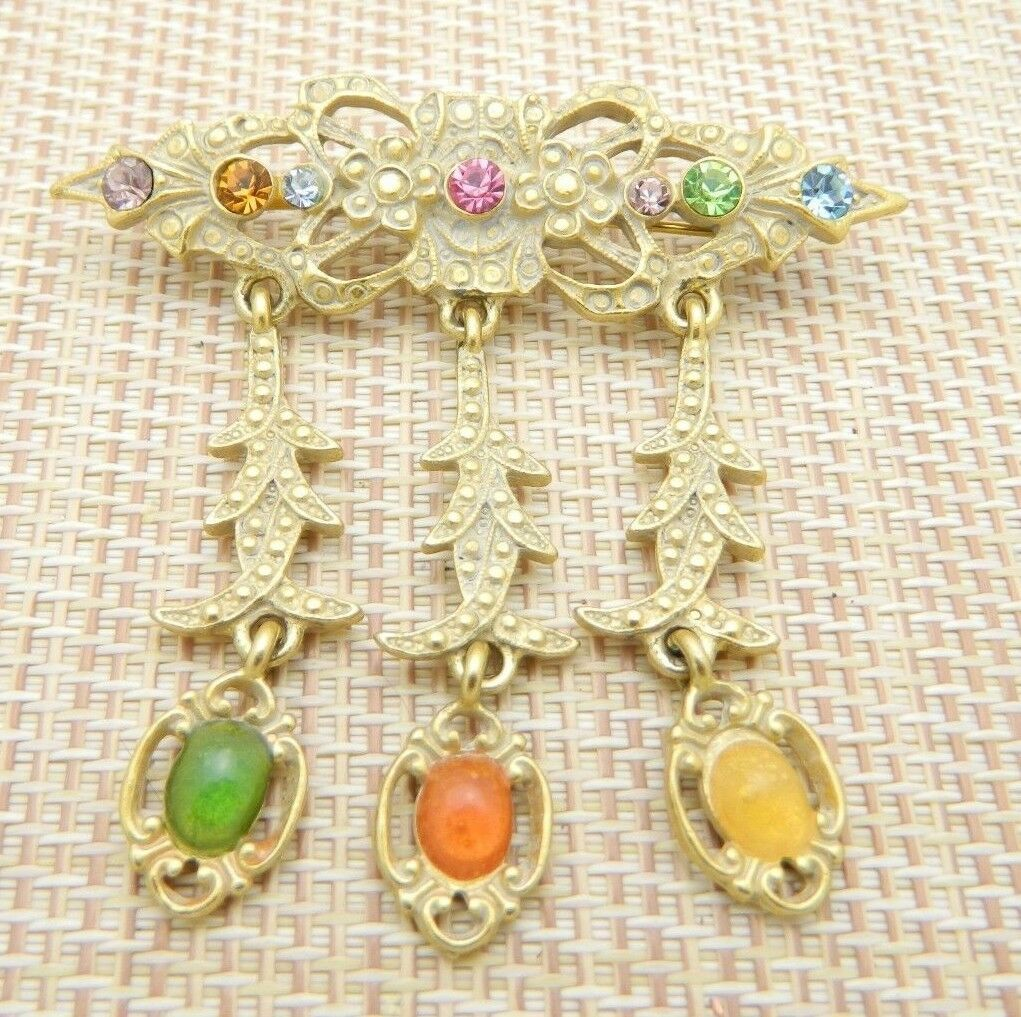 Art Nouveau Style MultI-Color Rhinestone Cabochon Dangle Pin Brooch Vintage
