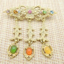 Art Nouveau Style MultI-Color Rhinestone Cabochon Dangle Pin Brooch Vintage - $19.80