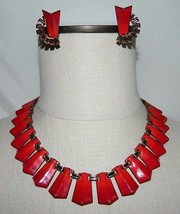 VTG MATISSE Renoir Copper Red Enamel Clip Earrings Choker Necklace - $247.50