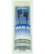 MAGNAVOX SNUG FIT EARPHONES BLACK SMOOTH BASS 15mm Driver Brand New SHIP... - $2.95