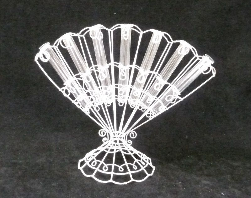 Flower Test Tube Fan Vase Vintage Rustic Wire White Plant Decor Collectible