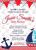 Classic Nautical Anchors Aweigh Birthday or Baby Shower Invitation: Pers... - £10.30 GBP