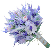 Purple pink lavender bouquet Wedding bridal artificial bouquet flower bo... - $50.00