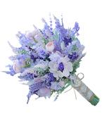 Purple pink lavender bouquet Wedding bridal artificial bouquet flower bo... - $50.00