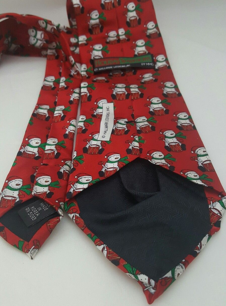 Hallmark Christmas Mens Tie Snowmen Drummers Holiday Tradition 57 L x 3.5 W Red