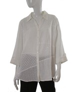 JM Collection White Linen Long Sleeve Button Front Blouse Size 12 NWT - $15.14