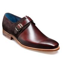 Handmade Men's Maroon Leather and Suede Monk Strap Dress Shoes image 3