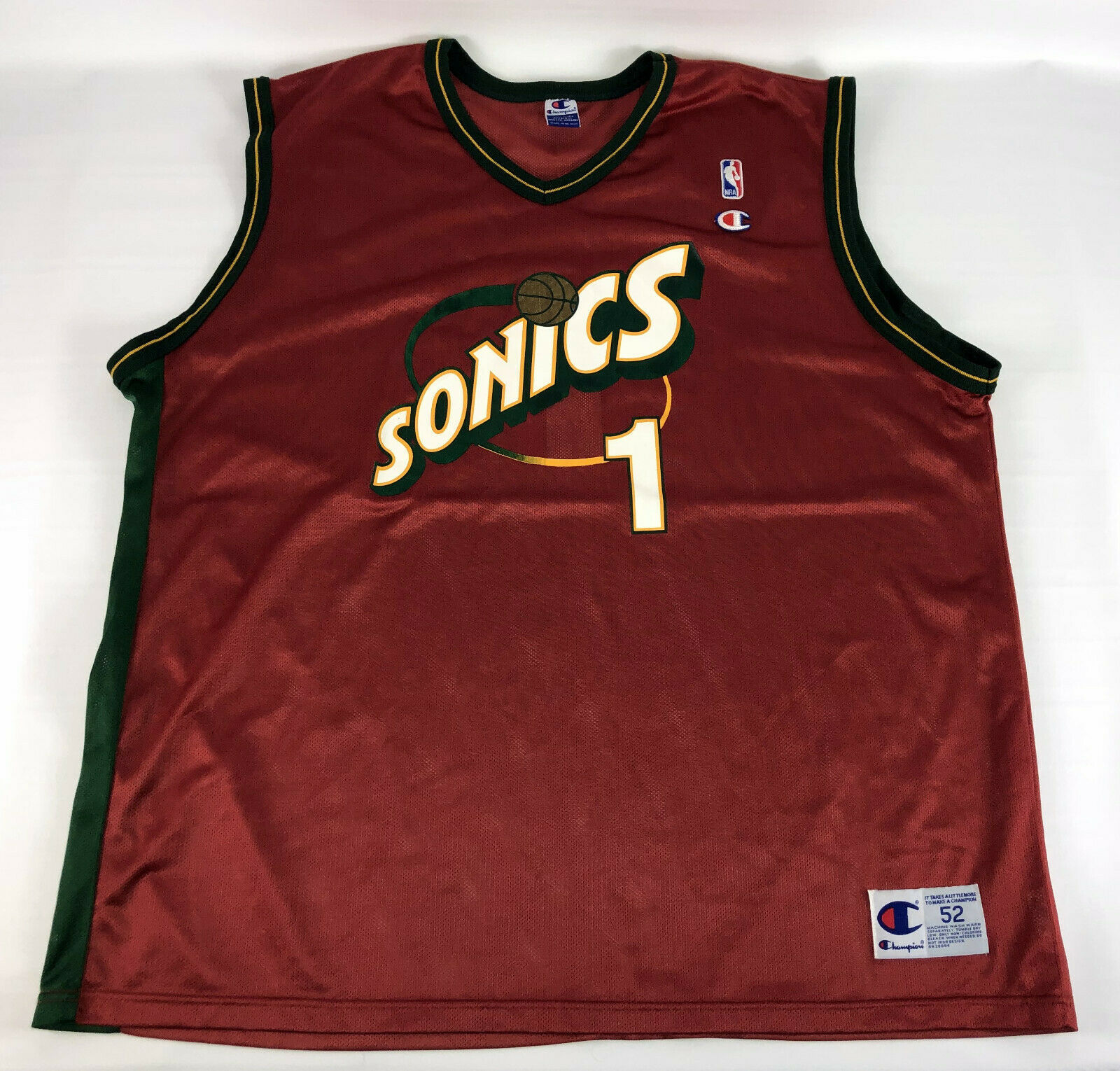Primary image for Seattle Sonics #1 Jersey Champion Red 1990's Size 52