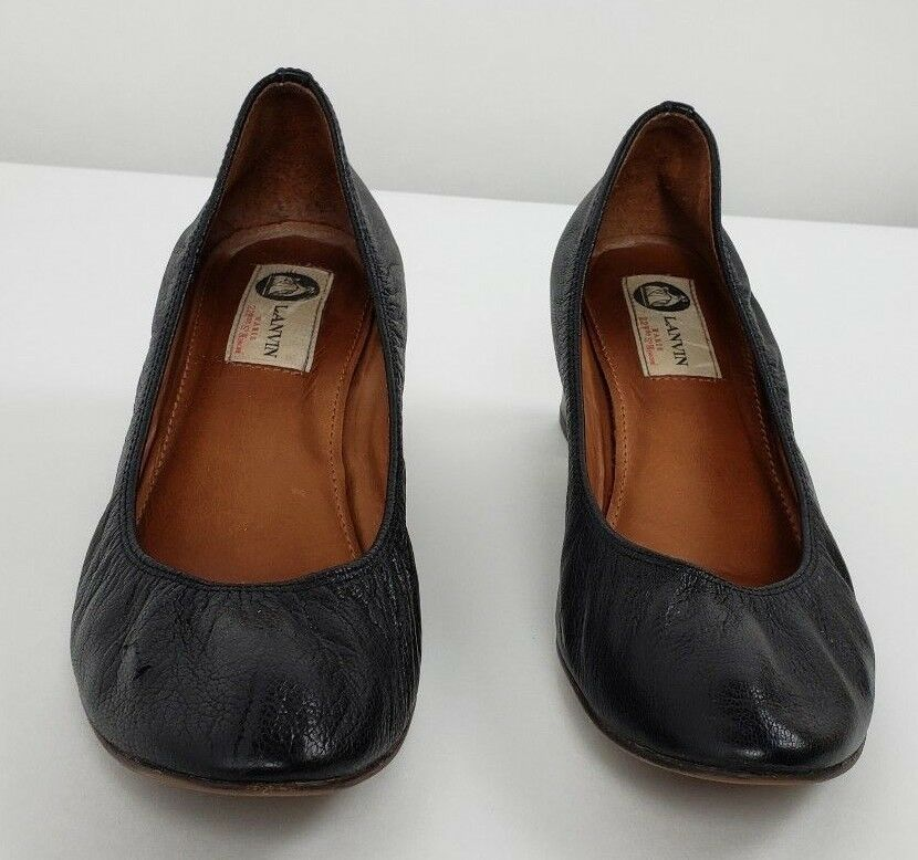 LANVIN Womens Black Leather Round-Toe Ballet Block High-Heel Pump Shoes 8.5/39.5