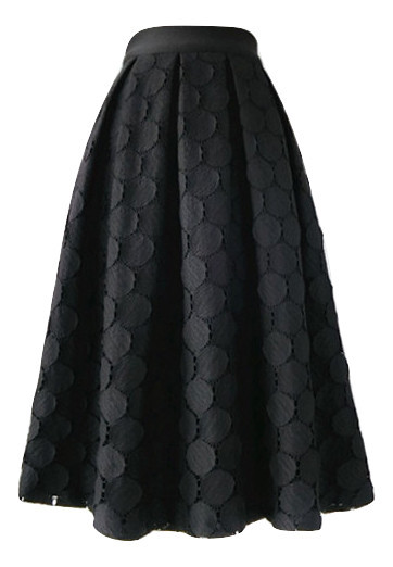 Lady Black A Line Full Pleated Skirt High Waist Midi Black Skirt with polka dot