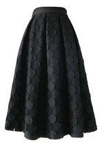 Lady Black A Line Full Pleated Skirt High Waist Midi Black Skirt with polka dot - $69.99
