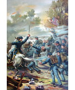 US ARMY in 1864 Colonel and Privates of Infantry Volunteers - COLOR Lith... - $25.20