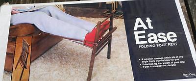 NIB Vintage Wood Portable Folding Hassock Foot Leg Rest Support Storage & Travel