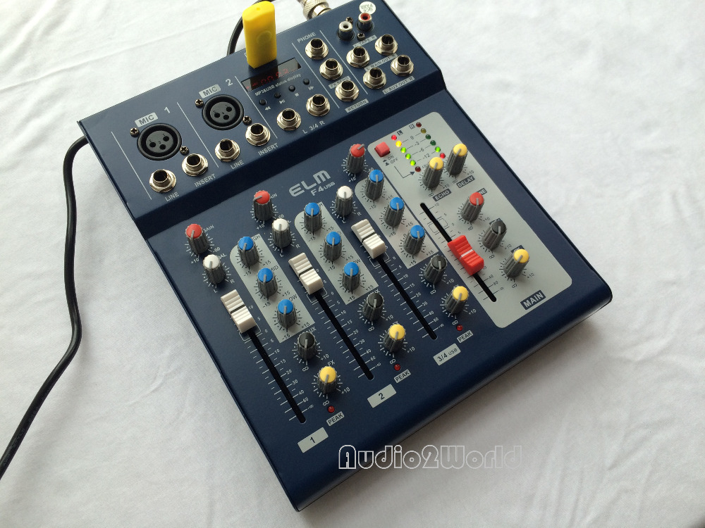 mini audio mixer f4 small mixing console 4 channel signal amplifiers filters. Black Bedroom Furniture Sets. Home Design Ideas