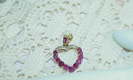 14k 12 Ruby 6 Diamond Heart Pendant Yellow Gold Vintage Gorgeous High end - £189.01 GBP