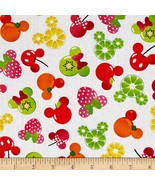"""Disney Mickey & Minnie Fruits 100% cotton 43"""" Fabric by the BOLT 15 yards - $92.17"""