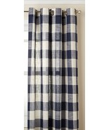 """Courtyard Plaid Woven Curtain Panel with Grommets, Navy, 63"""" length, Lor... - $22.99"""
