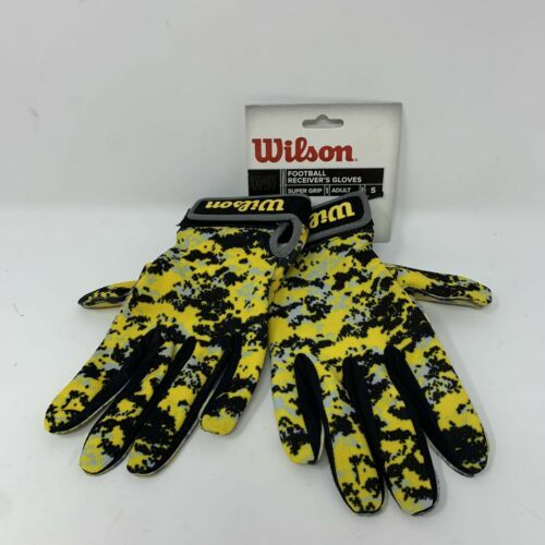 New Wilson Football Receiver Gloves Super Grip Adult Large WTF9305YES NWT - $19.79