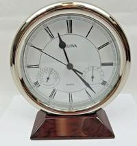 "Round Bulova Quartz Desk Clock & Thermometer & Hygrometer Mid Century Deco 8""  - $150.00"