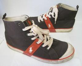 Polo Ralph Lauren Hi-Top Canvas Sneaker Shoes Athletic Fashion Black Orange 13 D - $49.95
