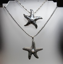2 PC Lot Solid Sterling Silver Starfish Pendant Necklace Heavy Weight 51... - $87.12