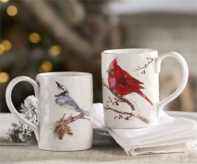 Set of 2 - Bird Design Mugs - Blue Jay & Cardinal - Ceramic