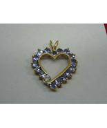 14K Yellow Gold LAVENDER IOLITE & DIAMOND Open Heart Pendant,LOVE MOM HEART - $279.00