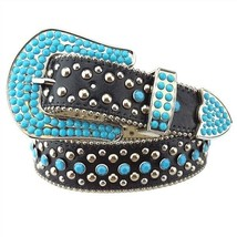 Western Rodeo Cowgirl Belt w Turquoise Stone on the Buckle and Strap Bla... - $23.74