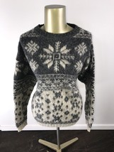 WOOLRICH Crewneck Pullover Gray Snowflake Design Wool Knit Sweater Women... - $491,90 MXN