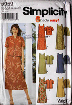 Simplicity 5959 Womens Shift Pullover Dress Jacket Short Long Sleeve Sew... - $10.00