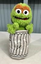 "Sesame Street Oscar The Grouch in Trash Can Plush 2003 11"" Nanco - $13.66"