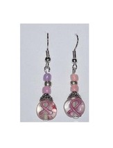"Earrings Pink Ribbon Clear Beads Pink Silver Beads Sterling Wire 1 1/2"" Long - $12.35"