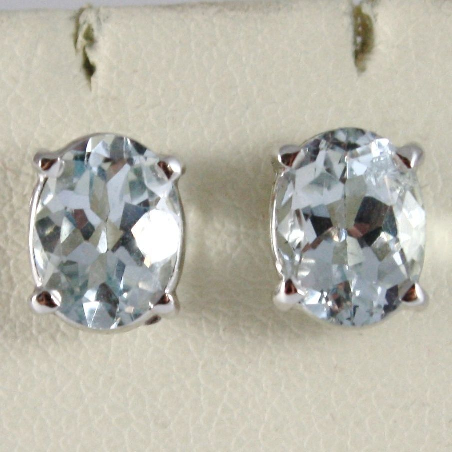 WHITE GOLD EARRINGS 750 18K WITH AQUAMARINE CUT OVAL, 2.60 CARAT