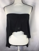 Express Women Black  Blouse Flat Neck Across Shoulders Zip Down M Ruffle - $16.83