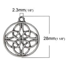 28mm Celtic Knot - Antiqued Silver Plated Charm Pendants 10 Pcs - $22.77