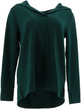 Cuddl Duds Comfortwear Long-Sleeve V-Neck Hoodie Evergreen M NEW A368071 - $28.69