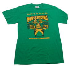 Extreme Bobsledding Bob Sled Winter Fun Humor Vintage Hanes T-Shirt Gree... - $14.84