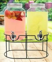 Estilo 1 gallon Glass Mason Jar Double Beverage Drink Dispenser On Metal... - $34.21 CAD