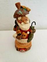 Kurt S Adler Santa Acorn Cap Hat Oak Leaf Umbrella Christmas Decor Figure - $29.68