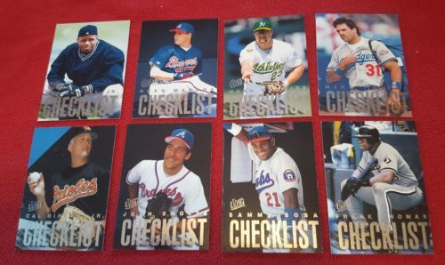 1997 Fleer Ultra Checklists Set A Lot of 8 Cards