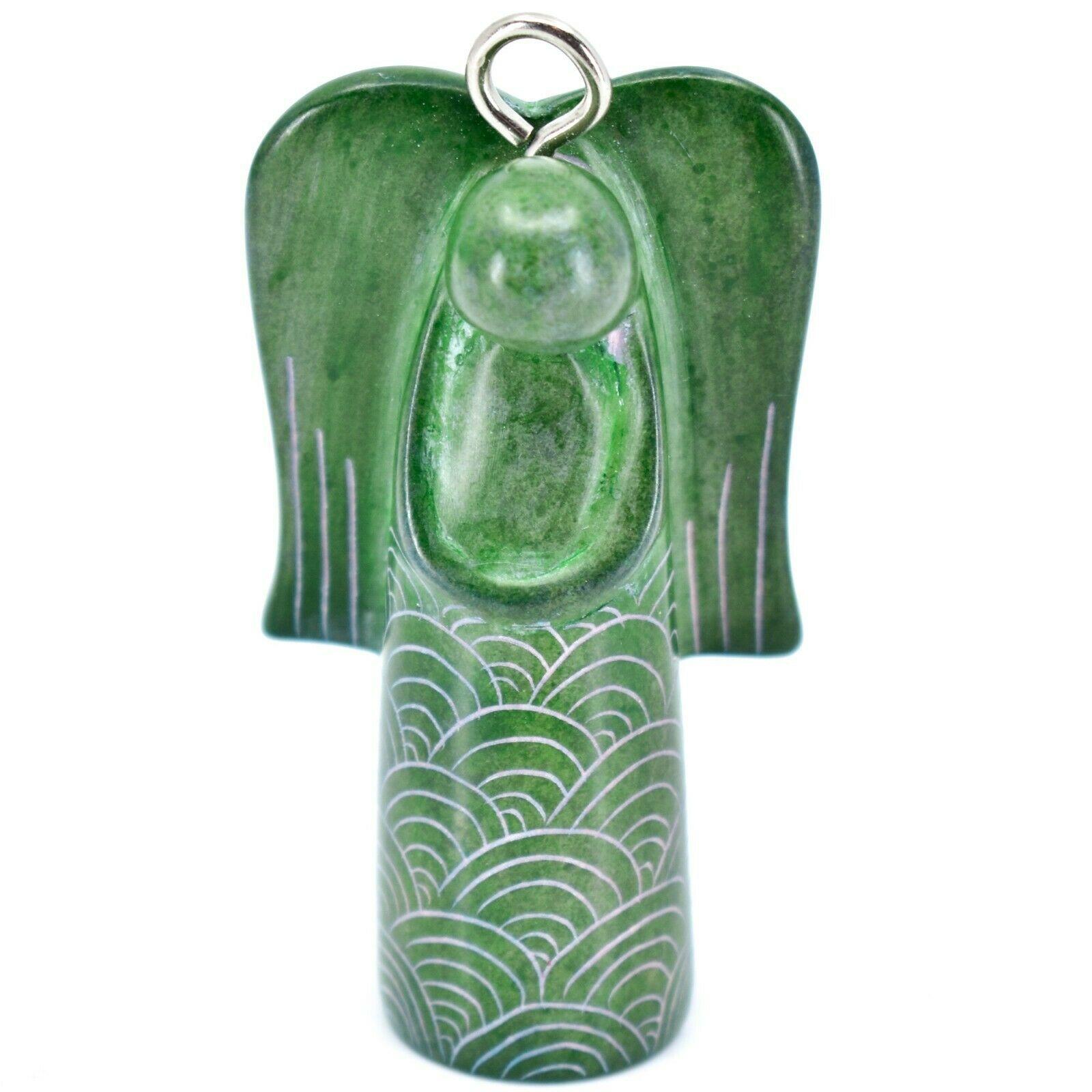 Tabaka Chigware Hand Carved Kisii Soapstone Green Angel Ornament Made in Kenya