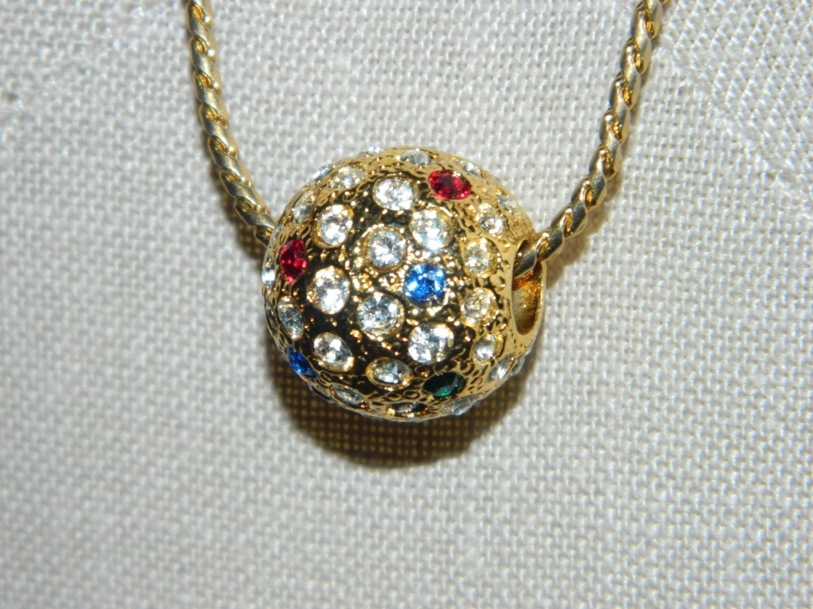 VTG NAPIER Gold Tone Long Necklace with Multi-Color Rhinestone Ball Pendant image 3