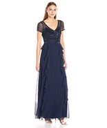 Adrianna Papell Women's Short Sleeve Gown with Beaded Bodice and Ruffle ... - $188.09+