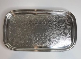 "Oneida Silverplate Ridgewood Footed Oblong Gallery Tray 19.75""x11.675""x1... - $29.69"