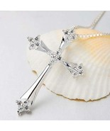 "Beautiful New Sterling 925 Silver Cross~White Topaz Detailed~20"" Box Cha... - $39.99"