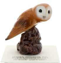 Hagen-Renaker Miniature Ceramic Bird Figurine Owl Tyto alba Common Barn  image 1