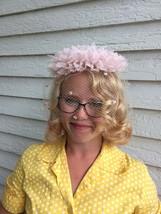Vintage Pink Veil Hat Net Wedding Bridal Whimsy - $29.00