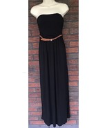 Iris Black Strapless Maxi Dress Size Small Brown Belt Thin Rayon Halter ... - $4.95